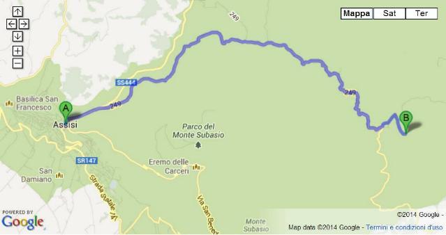 Raggiungere Armenzano di Assisi - Mappa di Google